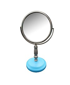 Dexter Freestanding Bath Magnifying Makeup Mirror with Deep Sea Blue base and Daisy pedestal