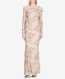 Lauren Ralph Lauren Embroidered Sequin Gown