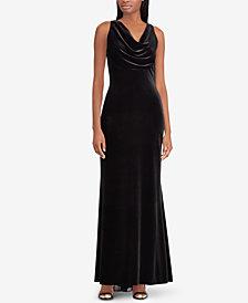 Lauren Ralph Lauren Velvet Cowl Neck Gown