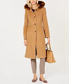Anne Klein Faux-Fur-Trim Hooded Maxi Coat