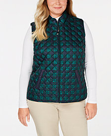 Karen Scott Plus Size Plaid Puffer Vest, Created for Macy's