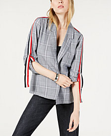 PROJECT 28 NYC Menswear Plaid Sleeve-Strap Blazer