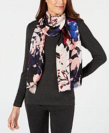 Calvin Klein Graphic Floral Silk Mesh Scarf