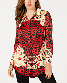 GUESS Printed Chain-Belt Tunic Top