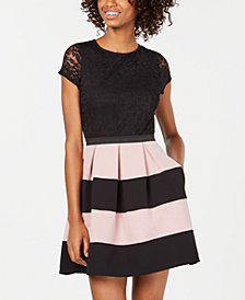 Speechless Juniors' Striped Lace Fit & Flare Dress