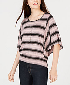 BCX Juniors' Striped Flutter-Sleeve Top & Necklace