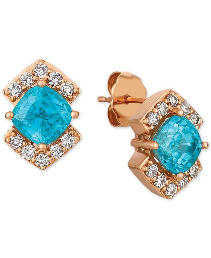 Le Vian - Blue Zircon (2-3/8 ct. t.w.) and Light Brown Diamond (1/3 ct. t.w.) Stud Earrings in 14k Rose Gold