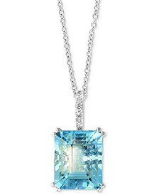 "EFFY® Aquamarine (3-9/10 ct. t.w.) & Diamond Accent 18"" Pendant Necklace in 14k White Gold"