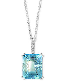 "EFFY Aquamarine (3-9/10 ct. t.w.) & Diamond Accent 18"" Pendant Necklace in 14k White Gold"
