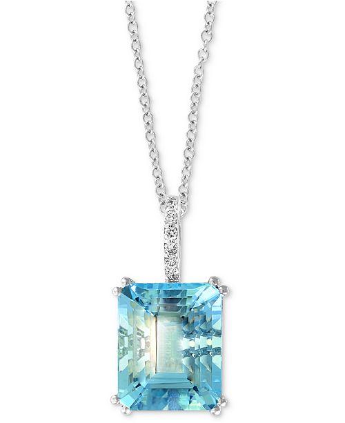 "EFFY Collection EFFY Aquamarine (3-9/10 ct. t.w.) & Diamond Accent 18"" Pendant Necklace in 14k White Gold"