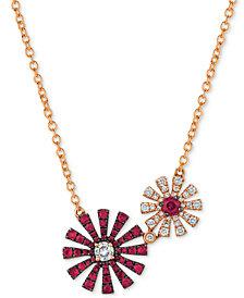 """Le Vian® Certified Ruby (1/2 ct. t.w.) & Diamond (1/4 ct. t.w.) Double Flower 18"""" Pendant in 14k Rose Gold"""