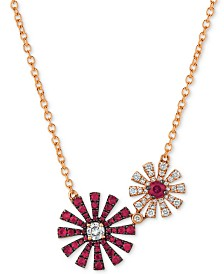 "Le Vian® Certified Ruby (1/2 ct. t.w.) & Diamond (1/4 ct. t.w.) Double Flower 18"" Pendant in 14k Rose Gold"