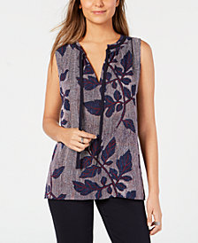 Tommy Hilfiger Leaf-Print Tunic Top