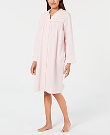 Miss Elaine Smocked Brushed-Back Terry Short Snap Robe