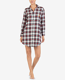 Lauren Ralph Lauren Brushed Cotton Plaid Sleepshirt