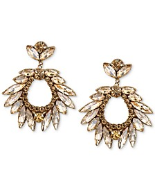 Deepa Silver-Tone Crystal Drop Earrings