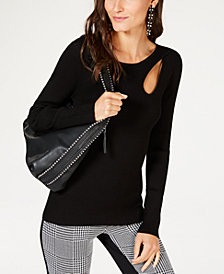 I.N.C. Ribbed Cutout Sweater, Created for Macy's