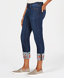Style & Co Petite Printed-Cuff Jeans, Created for Macy's
