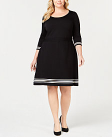 Anne Klein Plus Size Fit & Flare Sweater Dress