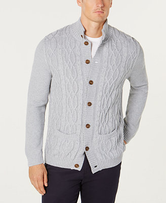 Men's Cable Knit Cardigan, Created For Macy's by Tasso Elba