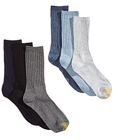 Gold Toe 6-Pk. Women's Extended-Size Ribbed Crew Socks