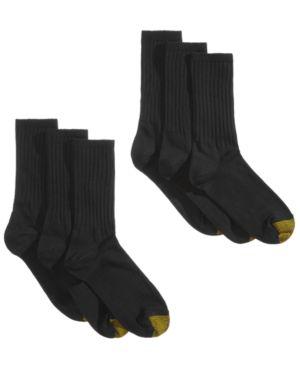 GOLD TOE 6-Pk. Women'S Extended-Size Ribbed Crew Socks in Black