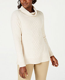 Karen Scott Cotton Funnel-Neck Sweater, Created for Macy's