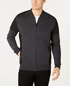 Alfani Men's Pieced Colorblocked Knit Moto Bomber Jacket, Created for Macy's