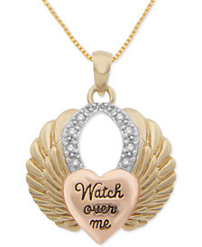 "Diamond Tricolor Heart & Wing 18"" Pendant Necklace (1/10 ct. t.w.) Sterling Silver and 18k Gold- and Rose Gold-Plate"