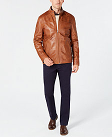 Tasso Elba Pietro Leather Jacket, Stretch Pants, Crew-Neck Sweater & Medallion Shirt, Created for Macy's