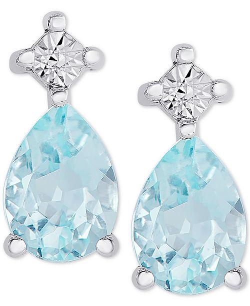 Macy's Blue Topaz Stud Earrings (1-3/4 ct. t.w.) in Sterling Silver