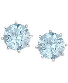Blue Topaz Crown Stud Earrings (4-3/4 ct. t.w.) in Sterling Silver