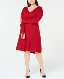 Love Scarlett Plus Size Lace-Up Sleeve Fit & Flare Sweater Dress