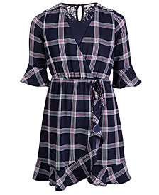 Monteau Big Girls Plaid Wrap Dress