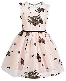 Pink & Violet Little Girls Floral Mesh Dress