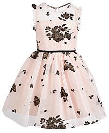 Pink & Violet Toddler Girls Floral Mesh Dress