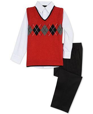 Tfw Toddler Boys 3 Pc Argyle Sweater Vest Shirt Pants Set