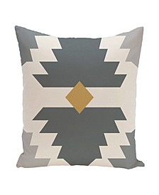 16 Inch Gray and Yellow Decorative Geometric Throw Pillow