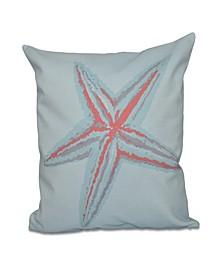 16 Inch Coral Decorative Coastal Throw Pillow