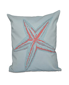 16 Inch Coral Decorative Coastal Throw Pillow