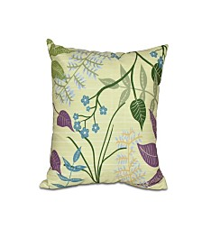 Botanical 16 Inch Bright Green Decorative Floral Throw Pillow