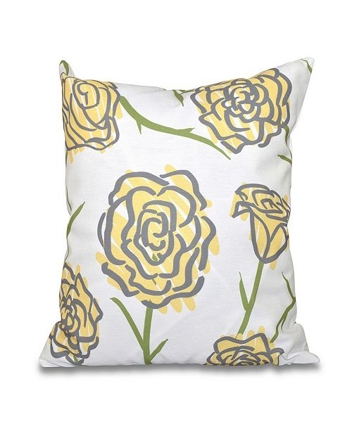 E by Design Spring Floral 1 16 Inch Yellow and Gray Decorative Floral Throw Pillow