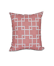 Bamboo 1 16 Inch Coral Decorative Abstract Throw Pillow
