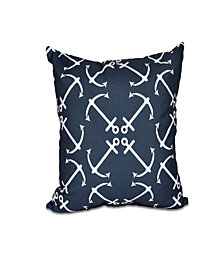 Anchor's Up 16 Inch Navy Blue Decorative Nautical Throw Pillow