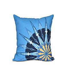 Sailor's Delight 16 Inch Mid Blue Decorative Nautical Throw Pillow