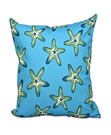Soft Starfish 16 Inch Turquoise and Mid Green Decorative Coastal Throw Pillow