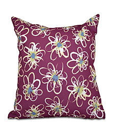 Penelope Floral 16 Inch Purple and Light Blue Decorative Geometric Throw Pillow