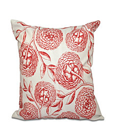 Antique Flowers 16 Inch Coral Decorative Floral Throw Pillow