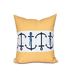 Anchor Stripe 16 Inch Yellow Decorative Nautical Throw Pillow