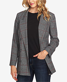 CeCe Double-Breasted Plaid Blazer